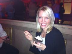 Our own Janessa Meyer enjoying a cupcake at the Cooperage celebration.