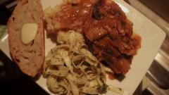 Finished Product - Osso Bucco, garlic mashed potatoes, pesto fettuccine, homemade bread